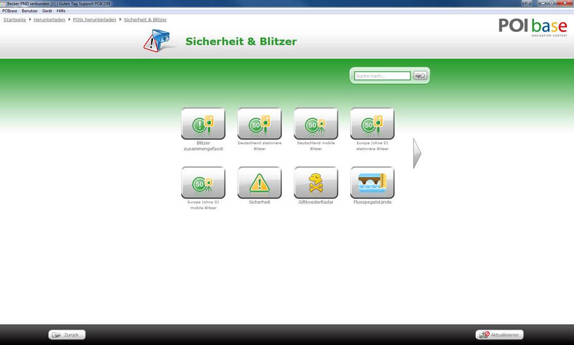 becker navi blitzerwarner software